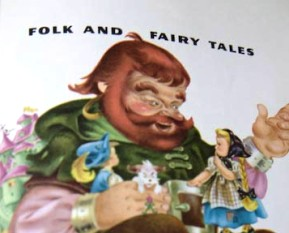 Photo of illustration for title page for Childcraft Folk and Fairy Tales