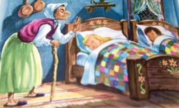 "Photo of Tom Hill's illustration for the ""Hansel and Gretel"" story in Childcraft"