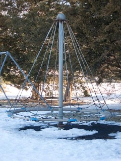 I fell off this and got kicked in the head by all my classmates. First graders weren't allowed on this for some reason.